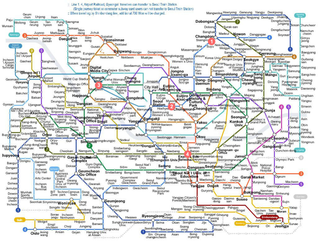 Seoul Subway System (image credit: official site of Korea Tourism)