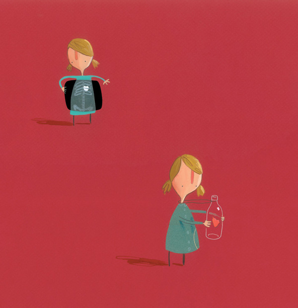 The girl thought the best thing was to put her heart in a safe place, for the time being. (image credit: Oliver Jeffers/The Heart and the Bottle)